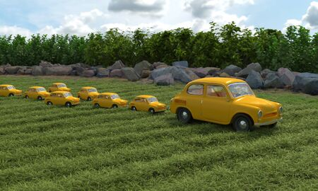 Yellow retro cars associated with mom duck and her children ducklings. Conceptual creative illustration with double meaning. 3D rendering