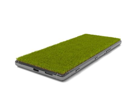 Smartphone with grass covered screen. Mobile phone isolated on a white background with copy space. Realistic grass grows on display. Creative conceptual illustration. 3D rendering Stockfoto