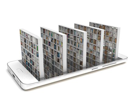 Bookcase with books on a smartphone screen isolated on a white background. Electronic library in a mobile phone. Distance education and self-study. Books online. Creative conceptual 3D rendering.