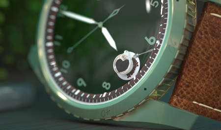 Wristwatch close-up with the hands of the clock at seven in the morning and a cup of coffee on the dial. Creative conceptual illustration. 3D render. Early wake up with morning coffee Stockfoto
