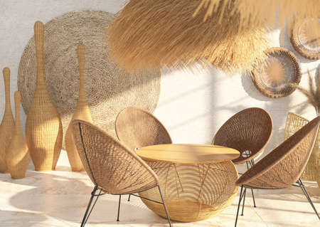 Interior of a cafe or restaurant with wicker furniture and rattan and straw décor. Round dining table. Ethnic style. 3D rendering