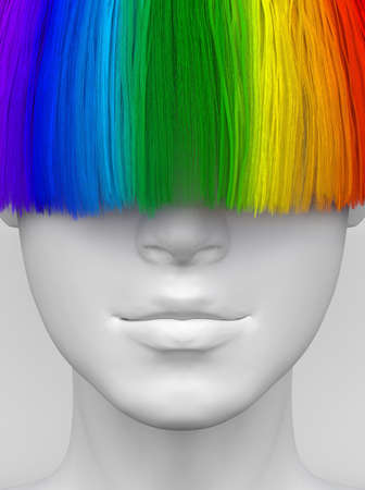 White woman's face with long multicolored bangs covering her eyes. Bright colorful hair. Creative conceptual illustration. 3D render