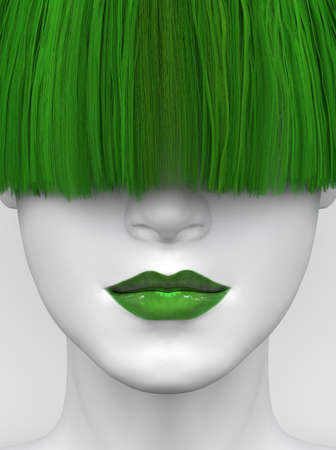 White female face with green lips and long green bangs covering her eyes. Bright colorful hair and makeup. Creative conceptual illustration. 3D render Stockfoto