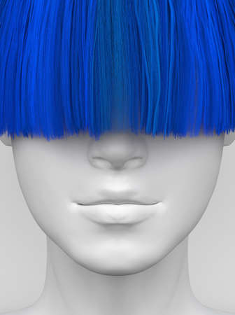 White female face with long blue bangs covering her eyes. Bright colorful hair. Creative conceptual illustration. 3D render Stockfoto