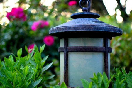 hedging: Lovely Garden Lamp Stock Photo