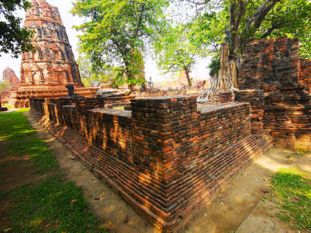 Corner of huge ancient temple in the city of Ayutthaya
