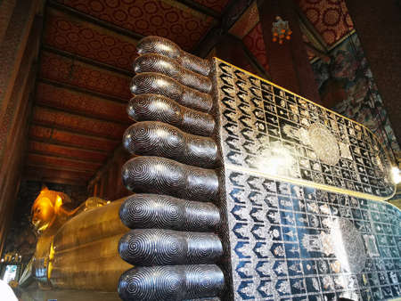 View from the giant feet of the Horizontal Buddha, Thailand