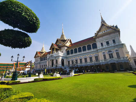 View of the beautiful Royal temple and gardens in Bangkok, Thailand