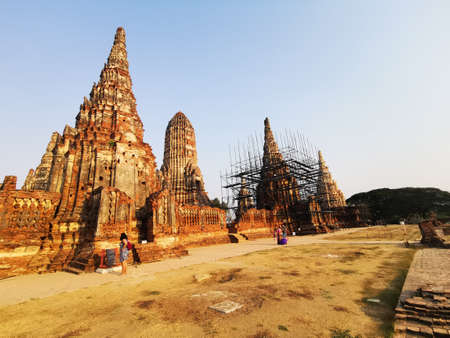 Construction work being carried out at some of the majestic UNESCO temples of Ayutthaya, Thailand - 2-20-2020