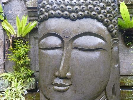 Buddha water feature, Ubud, bali Stock Photo