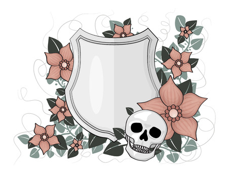 illustraton: Illustraton of hield with skull and floral decorations.