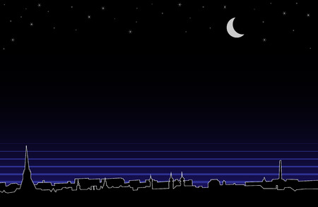 nigth: Vector silhouette background of night european panorama.