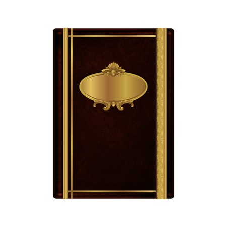 Old bookcover made of dark brown leather with golden decorations.