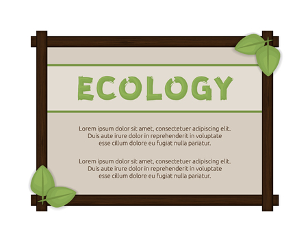 eco notice: Wooden frame with green leaves.