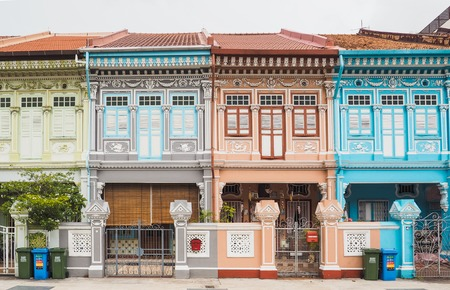 Colorful peranakan heritage house, Joo chiat road, Singapore Redactioneel