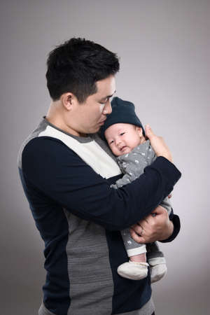 30s: 30s Asian man and son with studio portrait - isolated