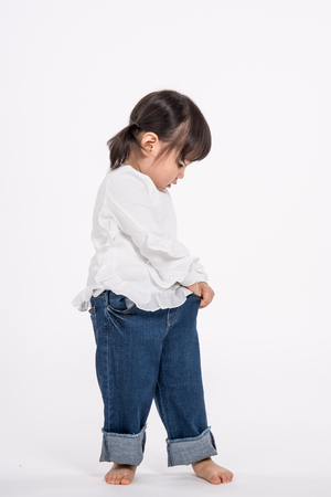 Studio portrait shot of 3-year-old Asian baby - isolated Stock Photo