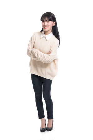 20 years old: Studio portrait of twenties Asian women smiling confident and happy