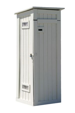 old wooden, free standing storage or utillity closet. Stock Photo - 373770