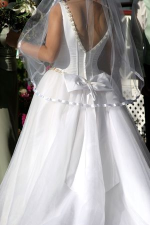 Back view of bride in wedding gown. Imagens - 404969