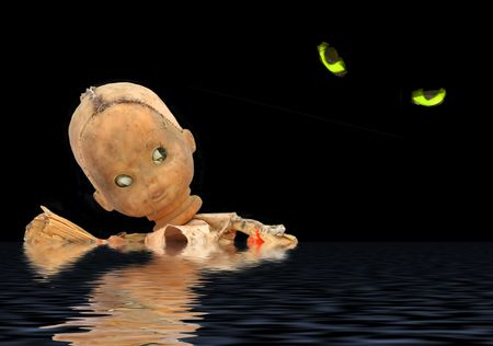 Halloween image of a badly damaged corn cob doll swimming away from evil eyes. Фото со стока