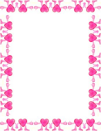 Blank page framed with pink heart figurines.