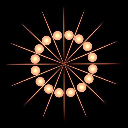 abstract illustration of golden balls and toothpick shaped lines. Reklamní fotografie