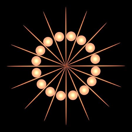 toothpick: abstract illustration of golden balls and toothpick shaped lines. Stock Photo