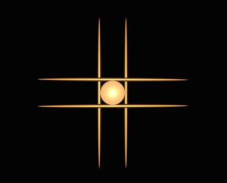 abstract illustration of lines and an orb looks like game of tic tac toe