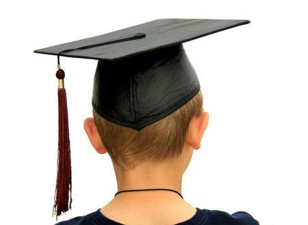 Vue de dos de jeunes avec diplôme de plafonnement, isolé sur blanc.  Banque d'images - 2997380