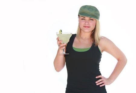 Jolie jeune fille blonde, la tenue d'une margarita. Banque d'images - 3577782