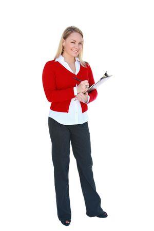 Jeune et jolie, blonde de bureau tenue le presse-papiers, isolés sur le blanc. Banque d'images - 3577802