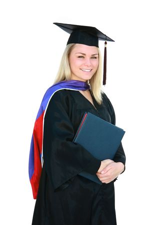 masters degree: Pretty blonde masters degree graduate in cap and gown.