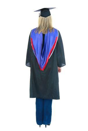 Jeune femme diplômée en chapeau, blouse, un jean bleu et guérit. Banque d'images - 3593976