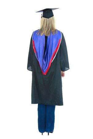 cap and gown: Modern young woman graduate in cap, gown, blue jeans and heals.