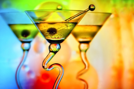 vertical bars: Colorful martini cocktail glasses