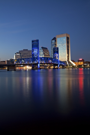 Beautiful Jacksonville, Florida skyline with reflections in St  John