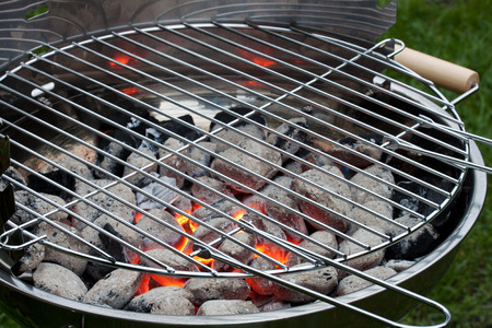 stainless steel charcoal grill Stock Photo
