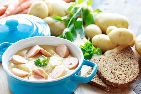 potato soup: Potato soup with sausages