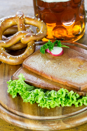 leberkaese: Baked meatloaf Stock Photo