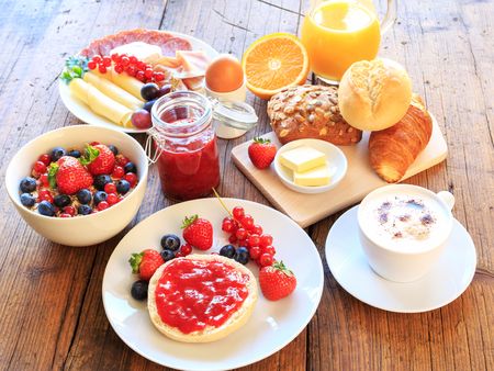 on the table: breakfast table Stock Photo
