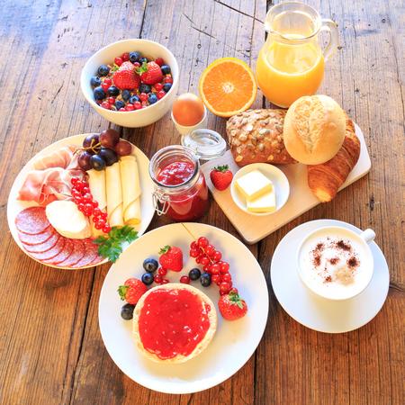 breakfast plate: breakfast table Stock Photo