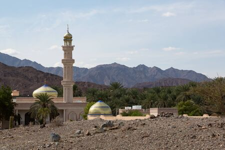 Al Mamora Mosque surrounded by a few palms in otherwise barren Wadi Hawqayn