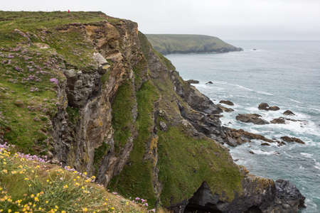 Coastal view and cliffs of Hells Mouth Bay in Cornwall, UK