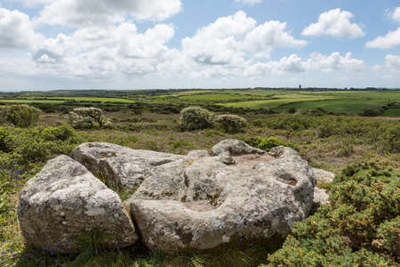 Creeg Tol, aka The Giant's Footprint, probably a site of a bronze age cairn or hill grave Stock fotó