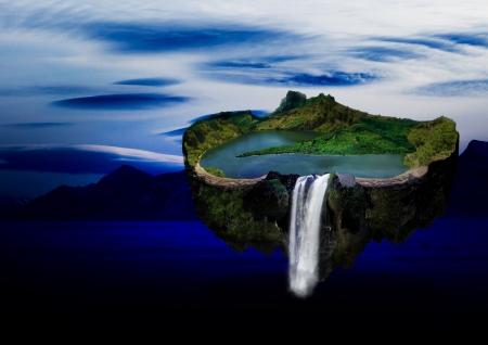 utopian: Homemade, utopian, flying island with lake and mountains