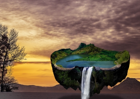 invented: Homemade, utopian, flying island with lake and mountains