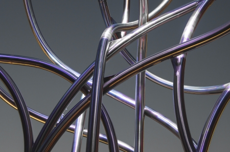 steel mesh: serpentine shaped tubes lit with different colored lights