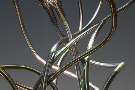 serpentine shaped tubes lit with different colored lights
