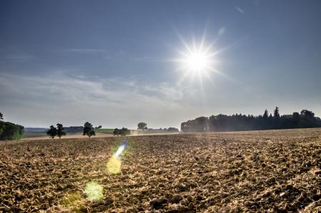 waxes: Rural farmland with beautiful sunshine and blue sky Stock Photo